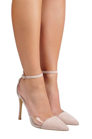 Tresor Clear/Suede Pointed Heel - Blush Suede