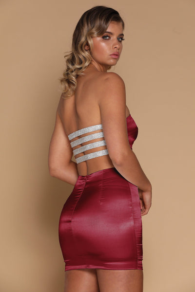 Vienna Diamante Panel Bandeau - Burgundy - MESHKI