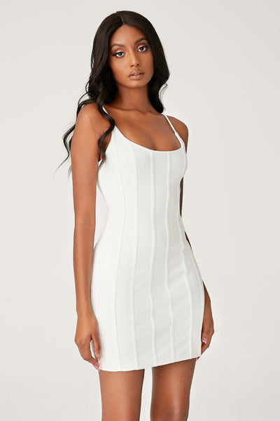 Romily Panelled Bodycon Mini Dress - White