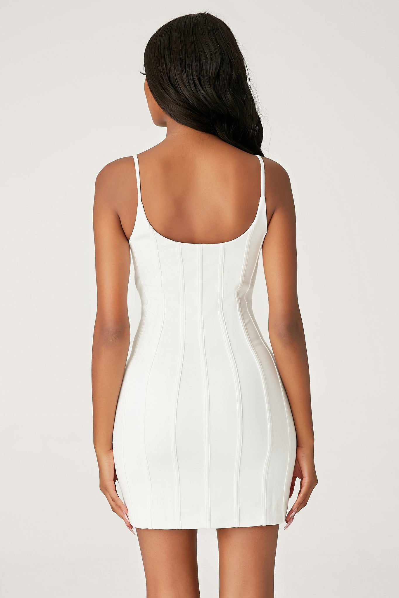 Romily Panelled Bodycon Mini Dress - White - MESHKI