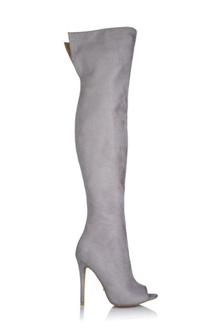 Gigi Open Toe Thigh-High Boot - Slate Grey Suede