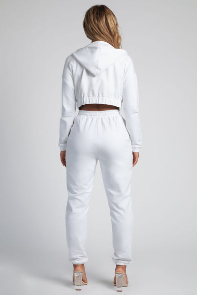 Johanna Zip Through Cropped Loopback Hoodie - White - MESHKI