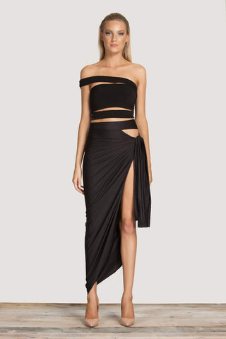 Fatale Wrap Skirt - Black