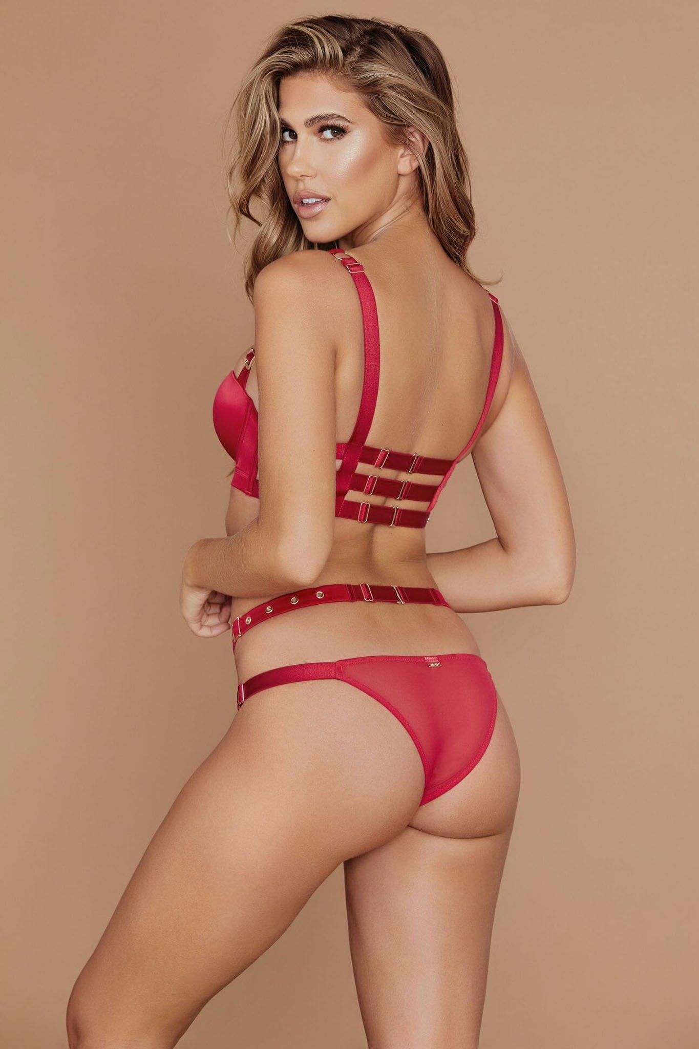 Alison Satin Buckle Brazilian Briefs - Red - MESHKI