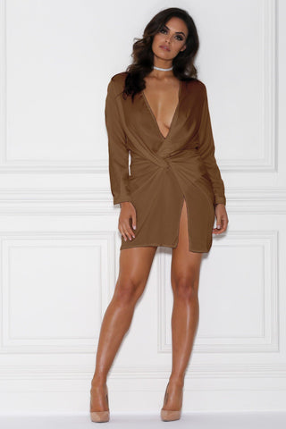 Adara Mini Satin Dress - Tan