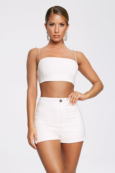 Abella Linen Fitted Shorts - White