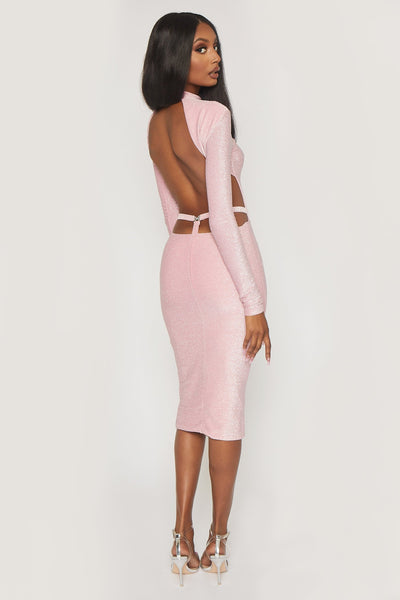 Armelle Long Sleeve High Neck Dress - Pink
