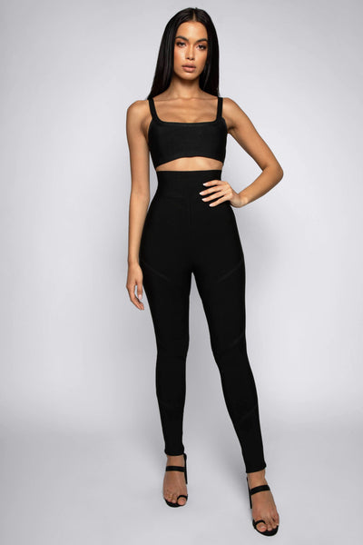 Amanda Bandage Crop Top - Black - MESHKI