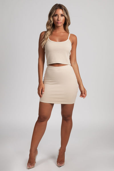 Samantha Jersey Mini Skirt - Nude - MESHKI