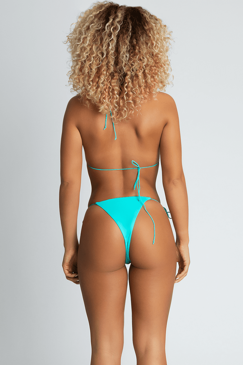 Amalia Tie Up Bikini Bottoms - Bright Turquoise - MESHKI