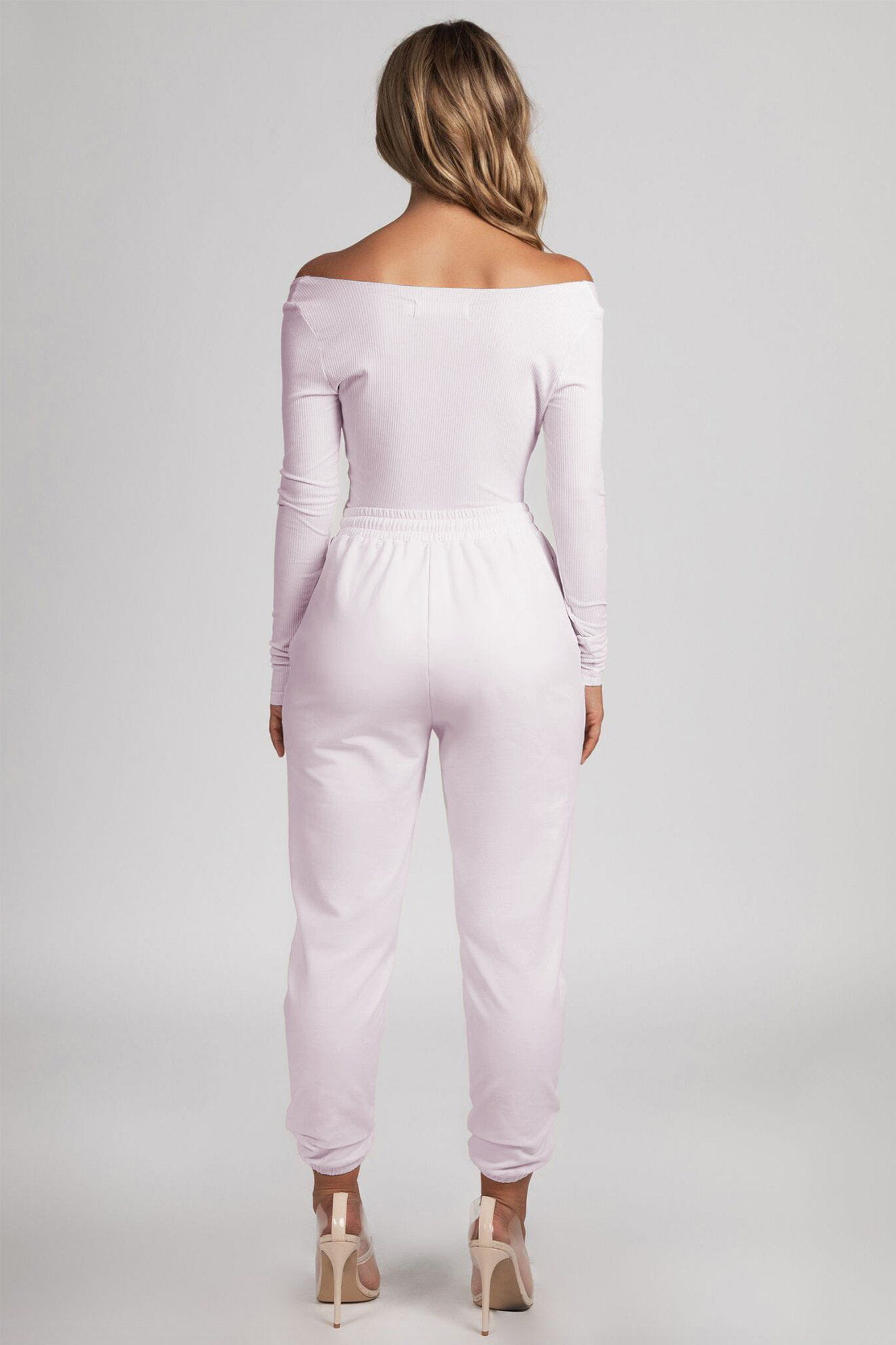 Malene V-Neck Ribbed Long Sleeve Bodysuit - Baby Pink - MESHKI