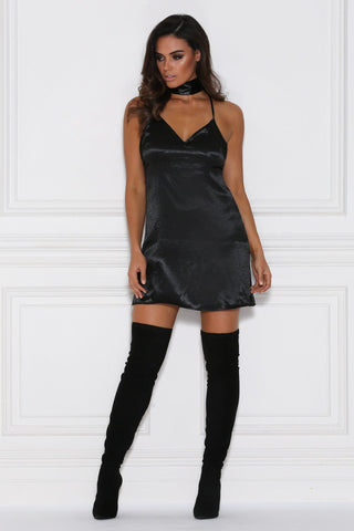 Ariana Satin Choker Slip Dress - Black