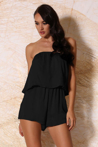 Melaina Strapless Playsuit - Black - MESHKI