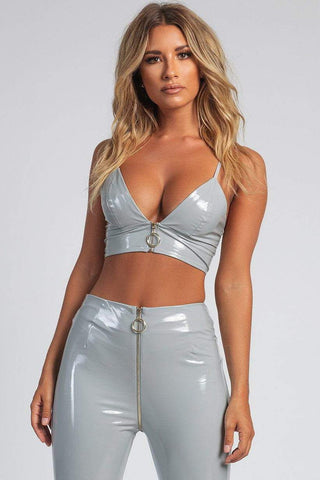 Layla Latex Zipper Front Bralette - Grey - MESHKI