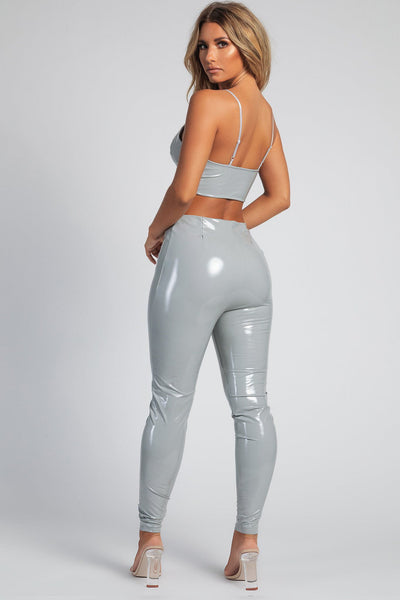 Madison Latex Zipper Front Pants - Grey - MESHKI
