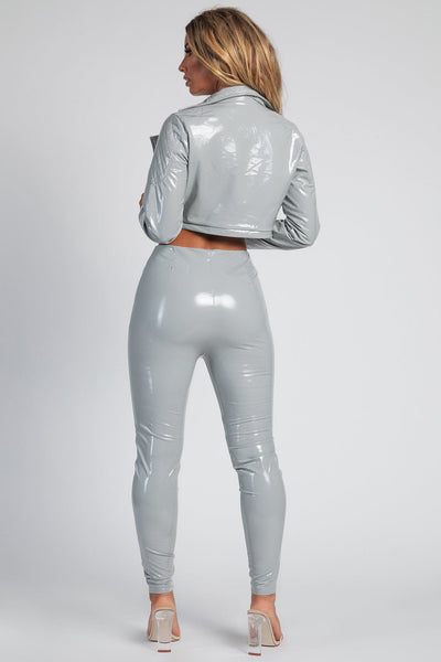 London Cropped Latex Jacket - Grey - MESHKI