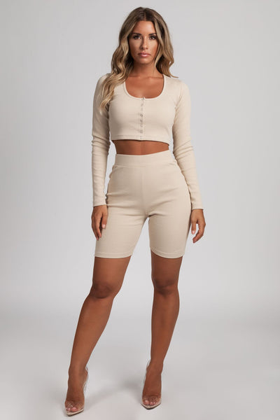 Hella Rib Popper Front Long Sleeve Crop Top - Nude - MESHKI