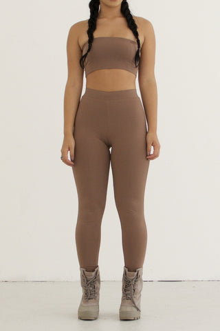 Calvin Crop Top - Mocha