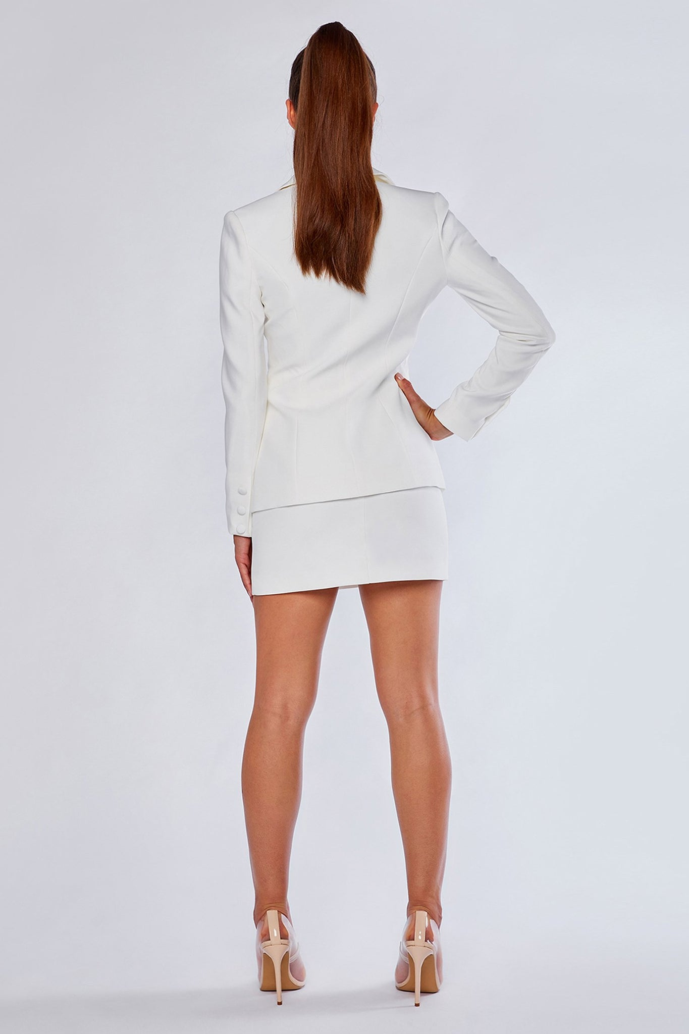 Charlize Double Breasted Long Blazer - White - MESHKI