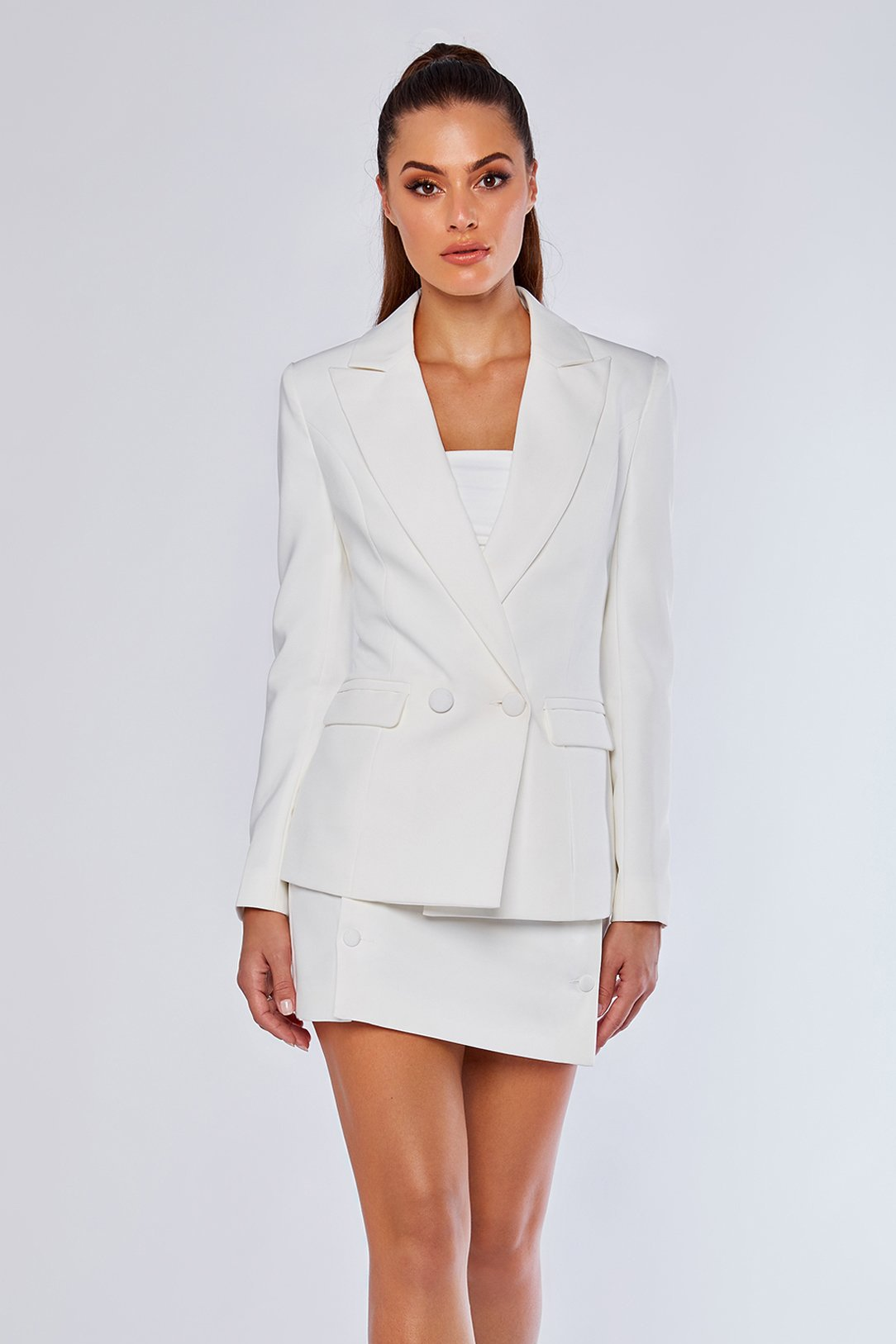Charlize Double Breasted Long Blazer White