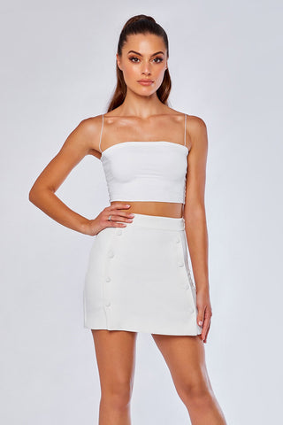 Charlize Tailored Wrap Skirt - White - MESHKI