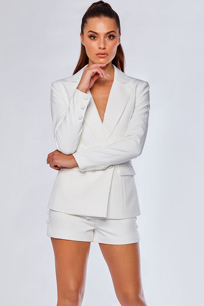 Charlize Tailored Shorts - White - MESHKI