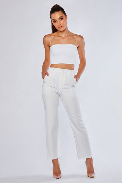 Charlize Cigarette Pants - White