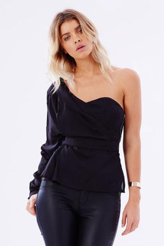 Beverly One-Shoulder Top - Black