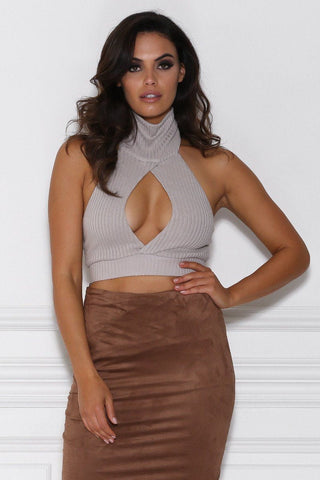Avena Knitted Keyhole Crop Top - Mocha