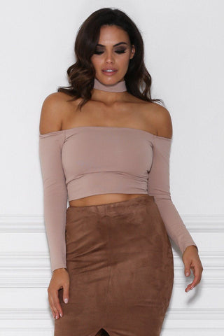 Vanna Long Sleeve Choker Crop Top - Nude