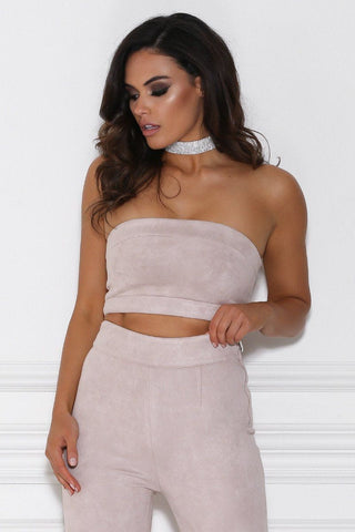 Athea Suede Bandeau Top - Dusty Pink