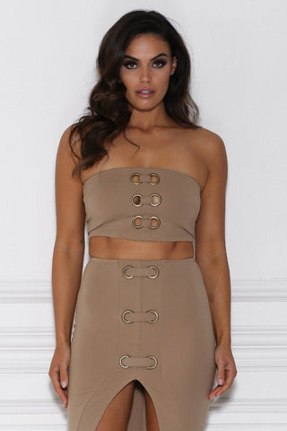 Karita Metallic Loop Bandeau Crop - Camel