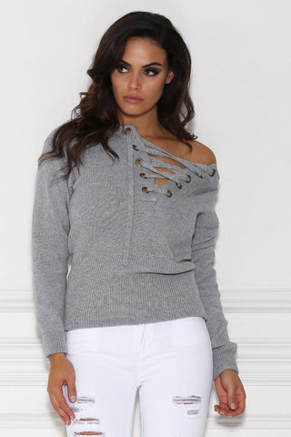 Bellina Lace Up Knitted Jumper - Grey