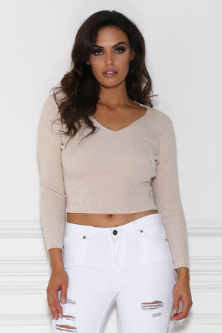 Zhanna Long Sleeve Knitted Crop Top - Nude