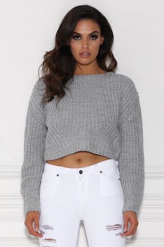 Ortega Long Sleeve Knitted Jumper - Grey