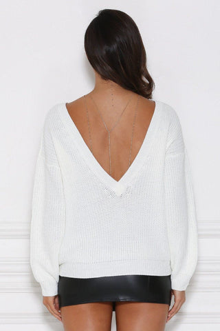 Lea Knitted Backless Jumper - White