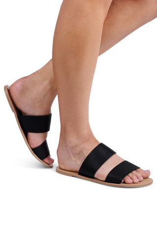 Cuban Strap Slides - Black - MESHKI