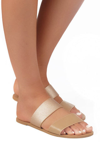 Cuban Strap Slides - Camel/Rose Gold - MESHKI