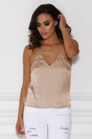 Cydney Strappy Satin Cami Top - Nude