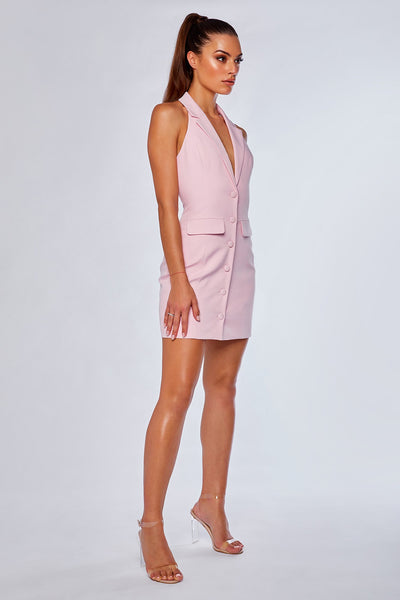 Daniella Collared Halter Dress - Light Pink - MESHKI