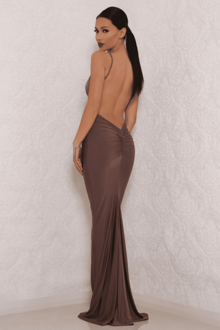 Celine Backless Maxi Dress - Bronze - MESHKI
