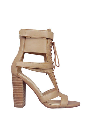Robin Lace Up Heel - Tan