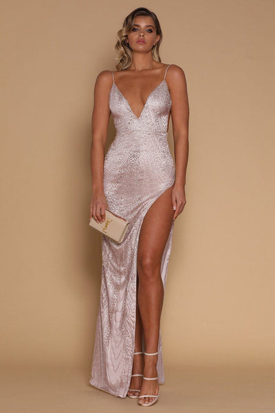 Ella Jewelled Maxi Dress - Rose Gold - MESHKI
