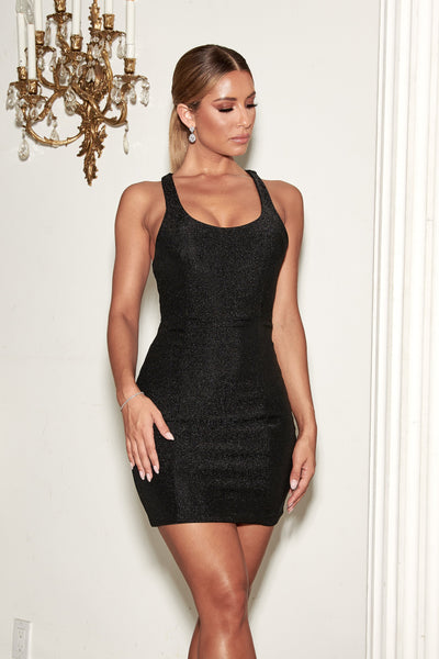 Eva Low Scoop Mini Dress - Black - MESHKI