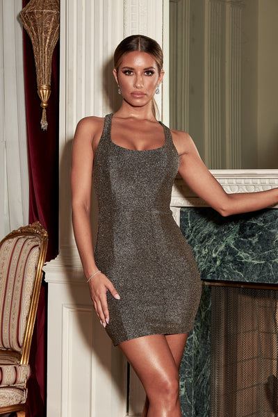 Eva Low Scoop Mini Dress - Gold