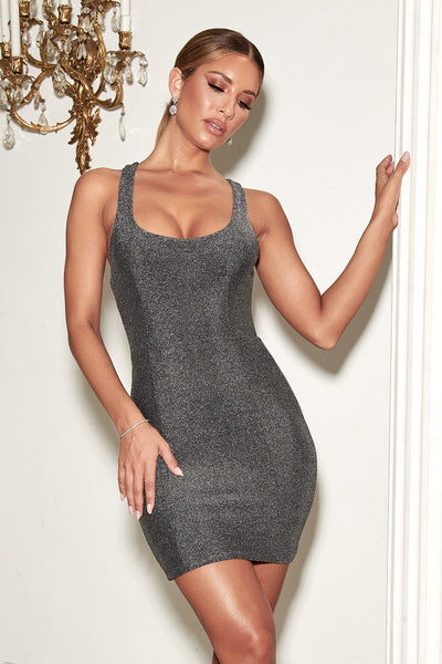 Eva Low Scoop Mini Dress - Silver - MESHKI