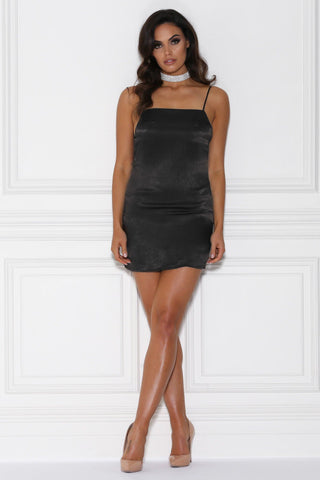 Fira Satin Mini Dress - Black