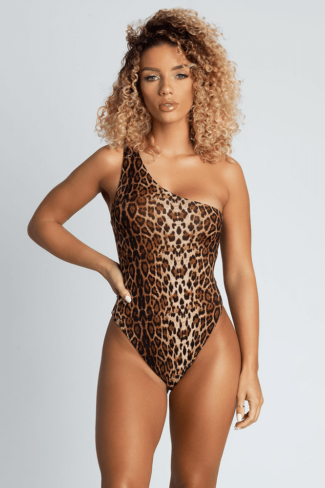 Freya Reversible One Shoulder Swimsuit - Leopard - MESHKI