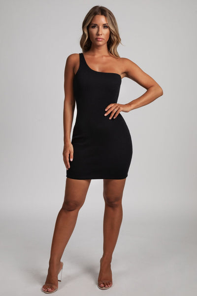 Scarlett One-Shoulder Bodycon Rib Mini Dress - Black - MESHKI