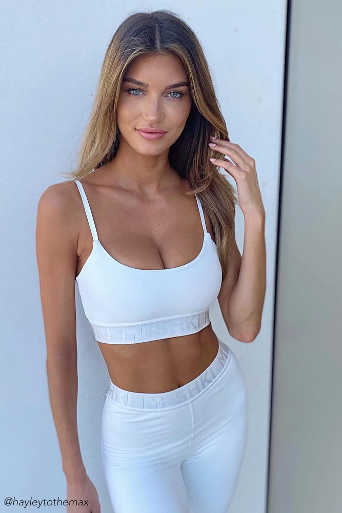 Adonis Meshki Scoop Neck Crop Top - White